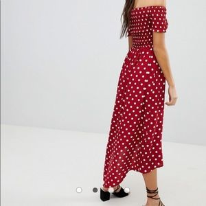 Parisian Works Dresses - Parisian off the shoulder polka dot dress size 6